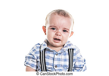 The Crying baby boy isolated on white