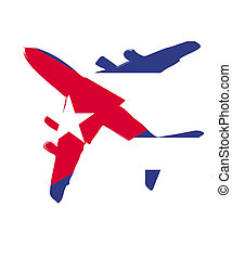 The cuba flag painted on the silhouette of a aircraft. glossy illustration