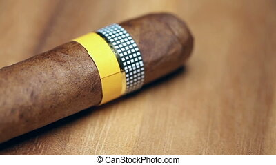 The Cuban cigars, hand made. Close up
