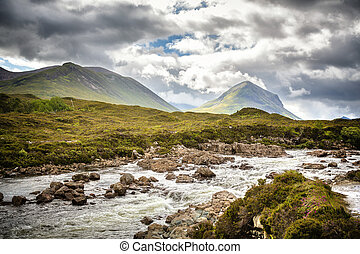 The Cuillin Hills and fast moving river