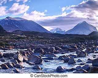 The Cuillins Isle of Skye seen from Sligachan. Hills and mountains