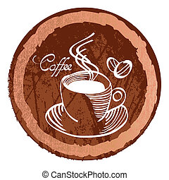 The cup of coffee on dark brown background