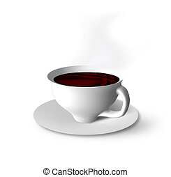 The cup of hot coffee