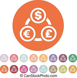 The currency exchange dollar, euro, pound sterling icon. Cash and money, wealth, payment symbol. Flat