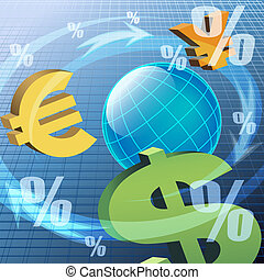 The currency - Illustration with currency icons turning...