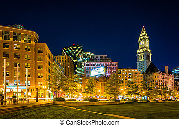 The Custom House Tower and Rose Fitzgerald Kennedy Greenway at n