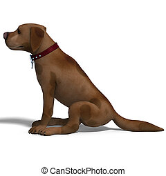 the cute and funny toon dog is a bit silly. 3D rendering with clipping path and shadow over white