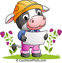 The cute architect cow is holding a paper plan and using a safety helmet