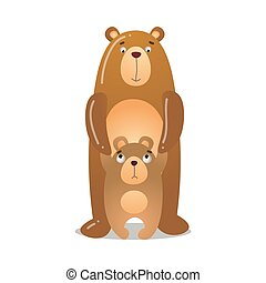 The cute bear is standing with a baby. Vector illustration isolated on white background