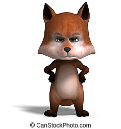 the cute cartoon fox is very smart and clever. 3D rendering...