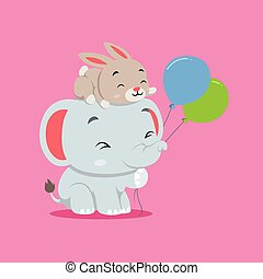The cute elephant is playing with the two balloons and rabbit on his head