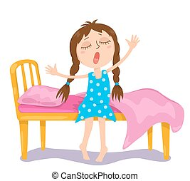 The cute girl wakes up. Vector cartoon illustration....