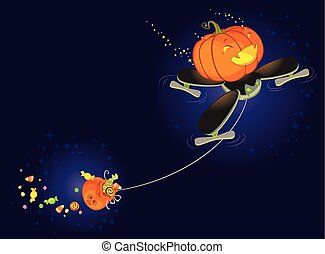 The Cute Halloween Pumpkin Flying on a Drone and Collecting Sweets