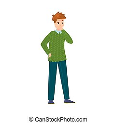 The cute light-haired man standing in a green sweater thinking of something. Vector illustration in flat cartoon style.