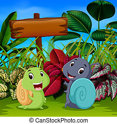 the cute snails play in the garden with the happy face