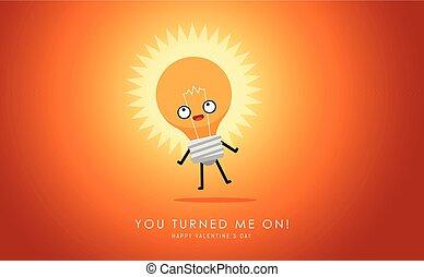 The cute turned on light bulb