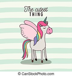 the cutest thing poster of unicorn with wings and lines colorful background