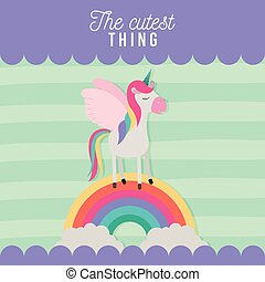 the cutest thing poster with unicorn over rainbow and lines colorful background