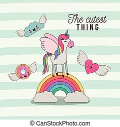 the cutest thing poster with unicorn over rainbow with cloud and heart and donut with wings and lines colorful background