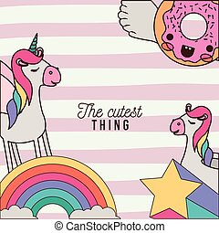 the cutest thing poster with unicorns rainbows stars and donut with wings and colorful lines background