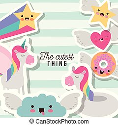 the cutest thing poster with unicorns rainbows stars cloud heart and donut with wings and colorful lines background