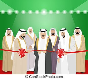 The cutting of ribbons by Arab men