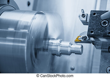 The cutting tool of CNC lathe or turning machine in the...