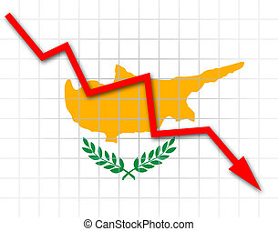 The Cypriot flag and arrow graph going down