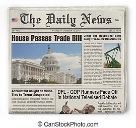 The Daily News - Bogus newspaper shot on white background...