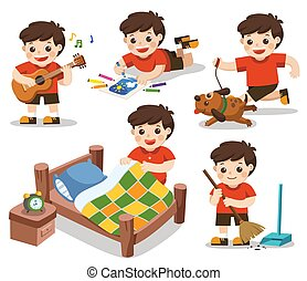 Isolated vector. The daily routine of A cute boy on a white background. [Make a bed, Do homework , Drawing, Play guitar, Run with his dog, Clean]