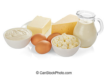 The dairy products isolated on white