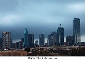 The Dallas skyline at dusk