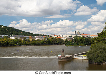 The dam on the Vltava River in Prague