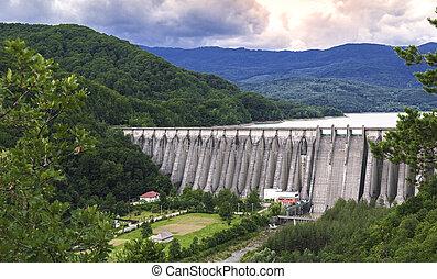 The dam on Uz river in Bacau, Romania