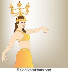 The dancer of east dances with candles and candelabras. vector