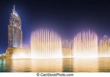 The dancing fountain Burj Khalifa in Dubai, UAE - The ...