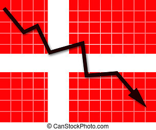 The Danish flag and arrow graph going down