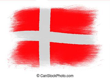 Danish Flag On Wall Denmark Flag Painted On Brick Wall Illustration