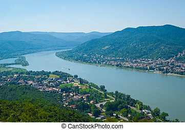 The Danube curve - panoramic view from hilltop at Visegrad,...