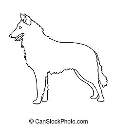The dark Belgian wolf. Belgium single icon in outline style vector symbol stock illustration.