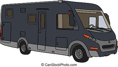 The dark motor home - The vectorized hand drawing of a...