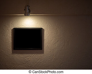 The dark picture frame on the concrete texture, the lamp above , can insert anything to the frame