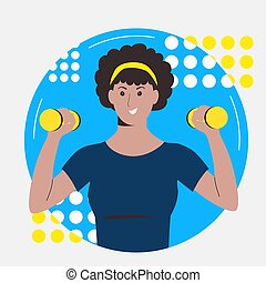 The dark-skinned girl goes in for sports with dumbbells. Workout at home. Fitness online. Flat illustration isolated on a white background.