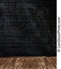 The dark stone wall