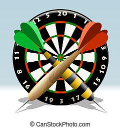 The dartboard - Illustration of dartboard and two darts...