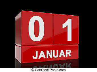The date of 1 Januar in white numbers and letters on red, glossy blocks, standing and mirrored isolated in front of a black background.