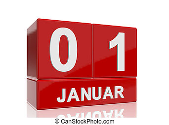 The date of 1 Januar in white numbers and letters on red, glossy blocks, standing and mirrored isolated in front of a white background.