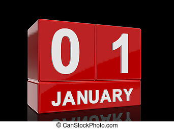 The date of 1 January in white numbers and letters on red, glossy blocks, standing and mirrored isolated in front of a black background.