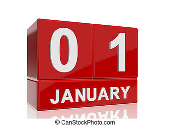 The date of 1 January in white numbers and letters on red, glossy blocks, standing and mirrored isolated in front of a white background.