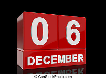 The date of 6 December in white numbers and letters on red, glossy blocks, standing and mirrored isolated in front of a black background.